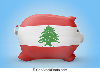 Piggy bank with the flag of Lebanon .(series)