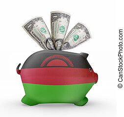 Piggy bank with the flag of Malawi .(series)