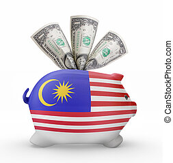 Piggy bank with the flag of Malaysia .(series)