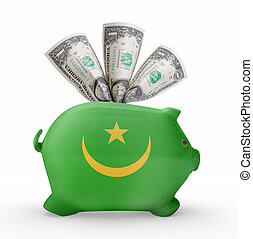 Piggy bank with the flag of Mauritania .(series)