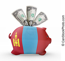 Piggy bank with the flag of Mongolia .(series)