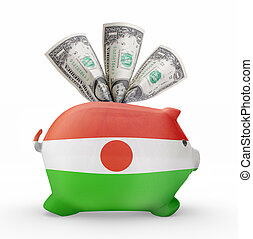 Piggy bank with the flag of Niger .(series)