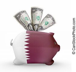 Piggy bank with the flag of Qatar .(series)