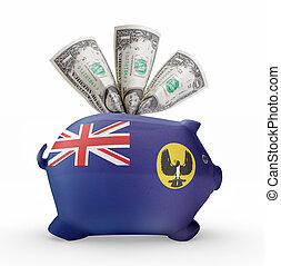 Piggy bank with the flag of South Australia .(series)