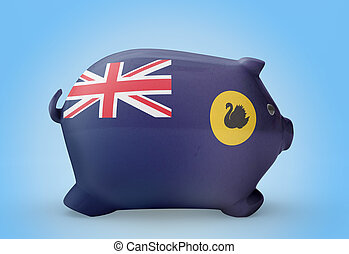 Piggy bank with the flag of Western Australia .(series)