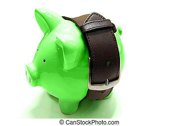 piggy bank with tight belt - saving money concept