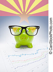 Piggy bank with US state flag on background - Arizona