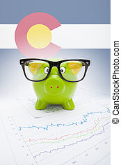Piggy bank with US state flag on background - Colorado