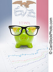 Piggy bank with US state flag on background - Iowa