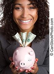 Piggy Bank Woman - Smiling woman holding piggy bank