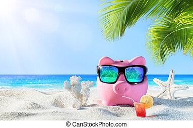piggy bank, z, napój, na plaży