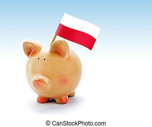 piggy bank, z, narodowa bandera, od, polska