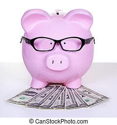piggy bank, z, pieniądze.