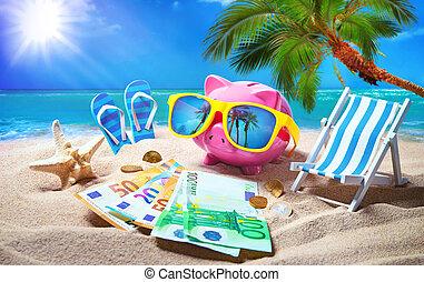piggy bank, z, sunglasses, rozluźnić, na plaży, święto
