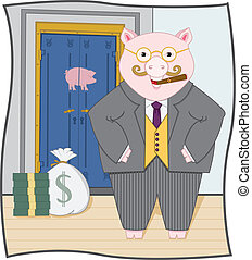 Vector art in Illustrator 8. Fat banker piggy enjoying his riches. Pig, bank vault and background on separate layers. Color and outline on separate layers.