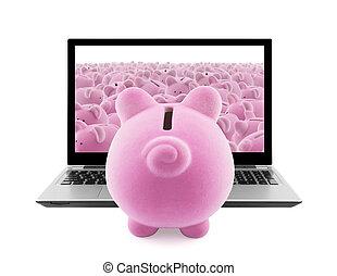 Piggy banks and laptop