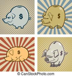 Piggy Banks - Here are four cartoon vector piggy banks (one...