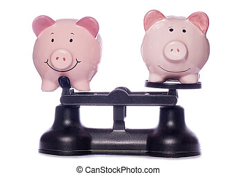 Piggy banks on scales cutout