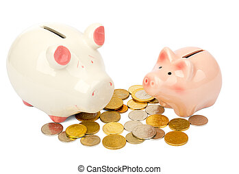 Piggy banks with coins on white