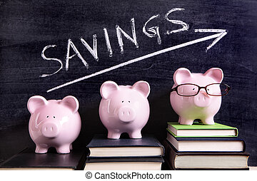Piggy Banks with savings message