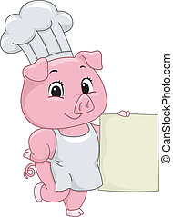 Piggy Chef - Illustration of a Pig Dressed as a Chef Holding...