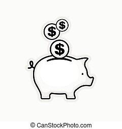 Piggy coin bank on white, vector illustration