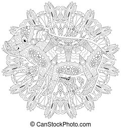 Piggy coloring book for adults vector with mandala