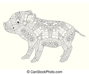 Piggy coloring book for adults vector - Zentangle...
