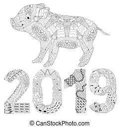 Piggy coloring book with number 2019 for adults vector