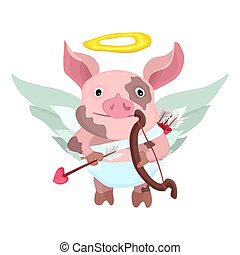 piggy cupid with bow and arrow smiling