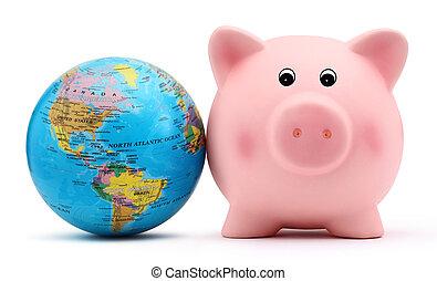 piggy, globe, vrijstaand, bank, witte