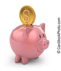 Piggy Gold Coin
