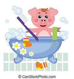 piggy, het overgieten, in, bad, vector.