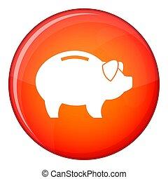 Piggy icon, flat style