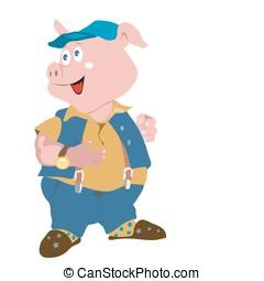 piggy - smart dressed pig cartoon