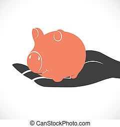 piggy in hand