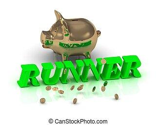 piggy, lettere, oro, runner-, verde, iscrizione
