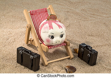 piggy lounging - a piggy bank is in a deckchair. symbol...