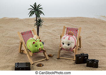 piggy lounging - a piggy bank is located in a lounge chair....