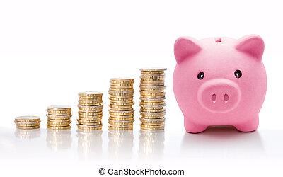 piggy, moeda, euro, pilhas, banco