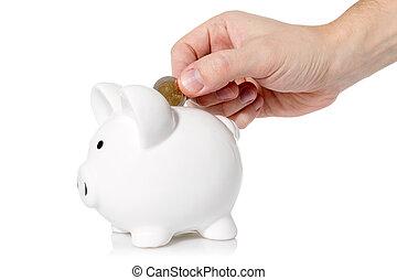 piggy, moneta, mano, mettere, banca