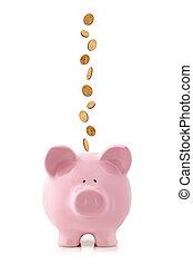 piggy, monete, banca, cadere