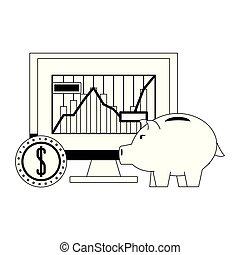 Piggy money savings and investment symbols