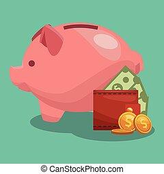 Piggy money savings - money savings inside piggy vector...