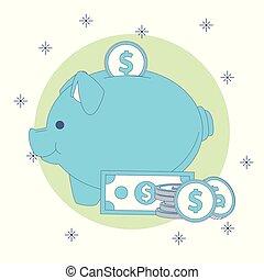 Piggy money savings - Piggy with money savings vector...