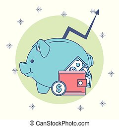 Piggy money savings - Piggy with wallet and money savings...