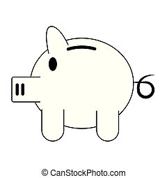 Piggy money savings symbol isolated in black and white