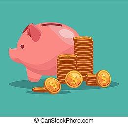 Piggy money savings vector illustration graphic design