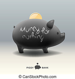 Piggy moneybox with coin - money for nothing - Piggy...