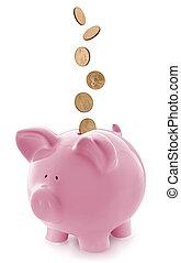 piggy, oro, cadere, banca, rosa, monete
